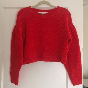Red cropped velour Intermix sweater